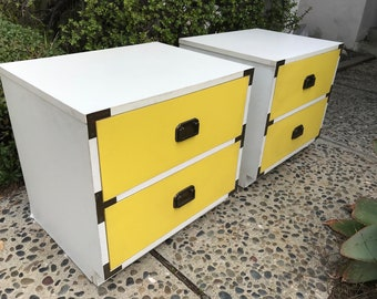 MID CENTURY/RETRO  **One Pair Available** of Yellow Campaign Nightstands