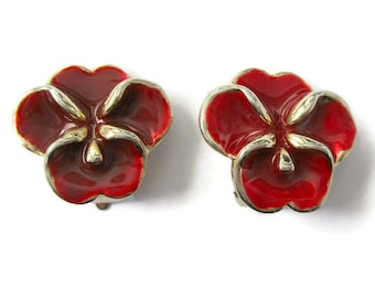 Vintage red flower earrings, vintage clip on earrings, vintage enamel earrings, red enamel flower earrings