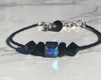 Swarovski Black & Purple Stackable Bracelet