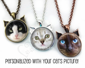 Personalized Cat Necklace - Custom Cat Jewelry - Your Cat's Face on a Necklace - Cat Memorial Custom Photo Picture Jewelry Cat Face Charm