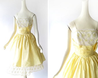 Vintage 1950s Dress | Bouton D'Or Dress | 50s Party Dress | XXS XS