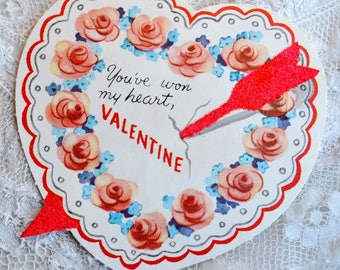 Vintage Valentines Day Card - Pink Roses Heart with Felted Arrow - Used