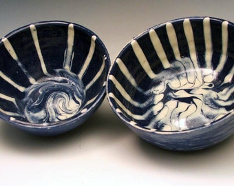 Two Cosmic Cobalt Blue Bowls in Hand Thrown Stoneware