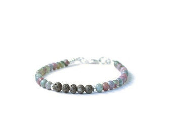 Lava Stone & Ruby Kyanite Aromatherapy Essential Oil Diffuser Bracelet