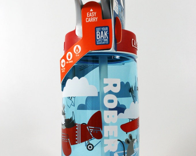 Personalized Kids CamelBak ® Water Bottle Airplane Bandits- Bottle, Hydrate, Bite Valve, Student Toddler, Airplane,Name Back To School .4L