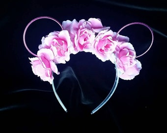 Floral headband with mouse ears and pink roses