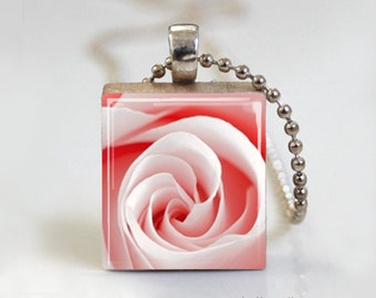 Pink Rose Floral Bloom  - Scrabble Tile Pendant - Free Ball Chain Necklace or Key Ring