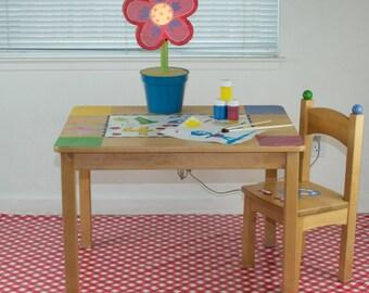 "Splat Mat/Tablecloth ""Red Gingham"" - Laminated Cotton BPA  & PVC Free - Choose Your Size below!"