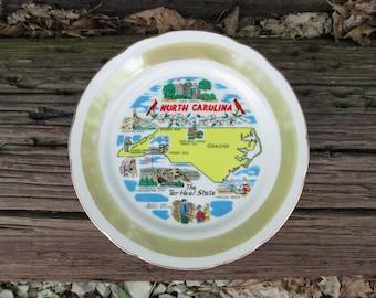 North Carolina The Tar Heel State Plate Decorative Vintage Souvenir
