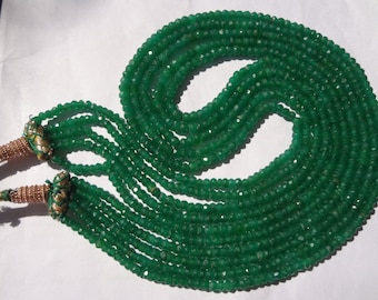 2.5 to 3.5 mm Natural Dyed Emerald Micro Faceted Rondelle full 14 inch strands AA Quality-Afordable price