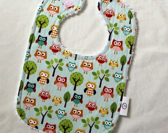 Blue Lazy Owls Fabric and Chenille Boutique Bib