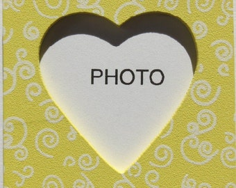 Wooden photo frame magnetic - yellow heart