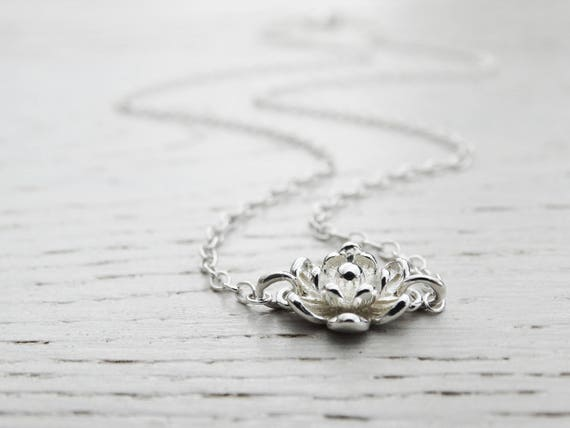Silver Flower Necklace, Sterling Silver