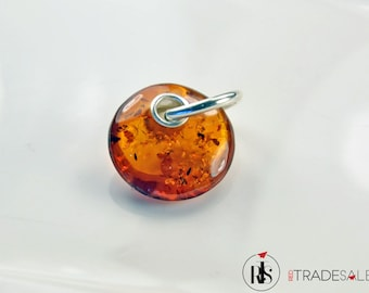 1 Sterling silver pendant with Baltic Amber flat round – P254BX