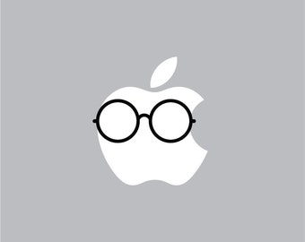 Round Glasses - Mac Apple Logo Cover Laptop Vinyl Decal Sticker Macbook Unique Face Hipster Sunglasses Style Funny Harry Potter