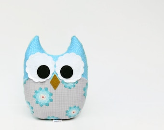 Aqua Gray Owl Stuffed Toy Plush Nursery Decor Aquamarine Blue Teal