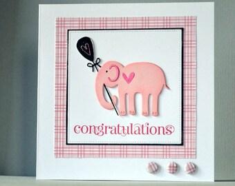 handmade new baby girl card, congratulations girl baby card, elephant girl baby card, congratulations card