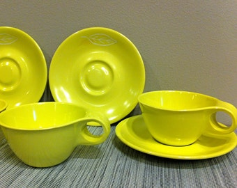 Russel Wright Yellow Melmac Melamine Cup and Saucer Set