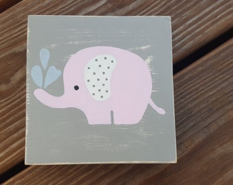 Pink Elephant nursery Decor; Baby girl nursery; 5x5 wood block nursery sign