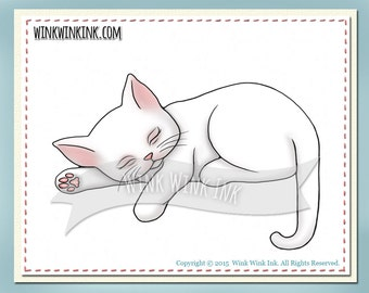 Digital stamp - Catnap - sleeping kitty cat printable digi image