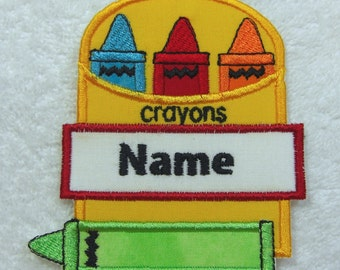 Crayon Box Personalized Single Name Patch Fabric Embroidered Iron On Applique Patch MADE TO ORDER
