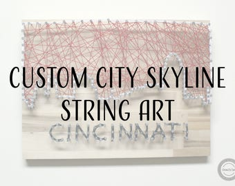 Custom City Skyline String Art - City String Art, Skyline String Art, Custom String Art, Any City String Art, Home City String Art