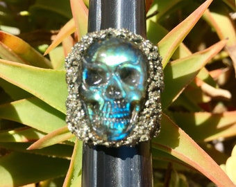 Labradorite Skull Ring.