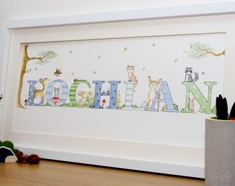 Baby name picture, Name art, 5+letters, nursery wall art, Framed illustration ,baby name art, name sign, bedroom, children's wall art