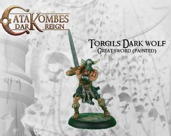 "Figurine héros barbare peinte : ""Torgils sombre loup"" great sword"