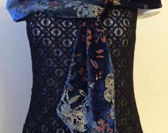 Women's Fashion Accessory Floral Convertible Silk and Velvet Loop Dressy Scarf