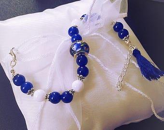Women bracelet, blue, white, beads, tassel, gift, gift, silver, onyx, glass, made with love