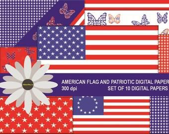 American Flag and Patriotic Digital Paper