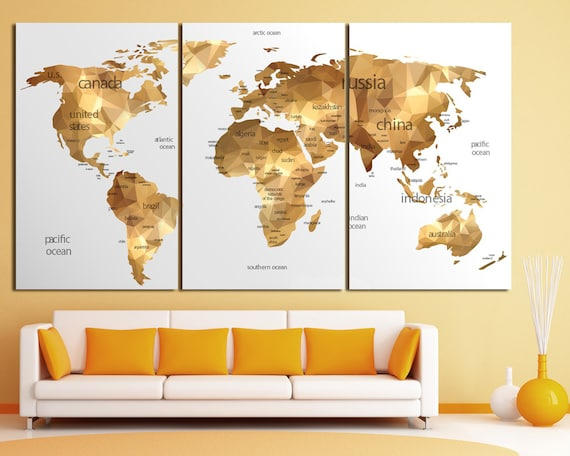 Gold world map wall art large gold world map print gold wall like this item gumiabroncs Choice Image
