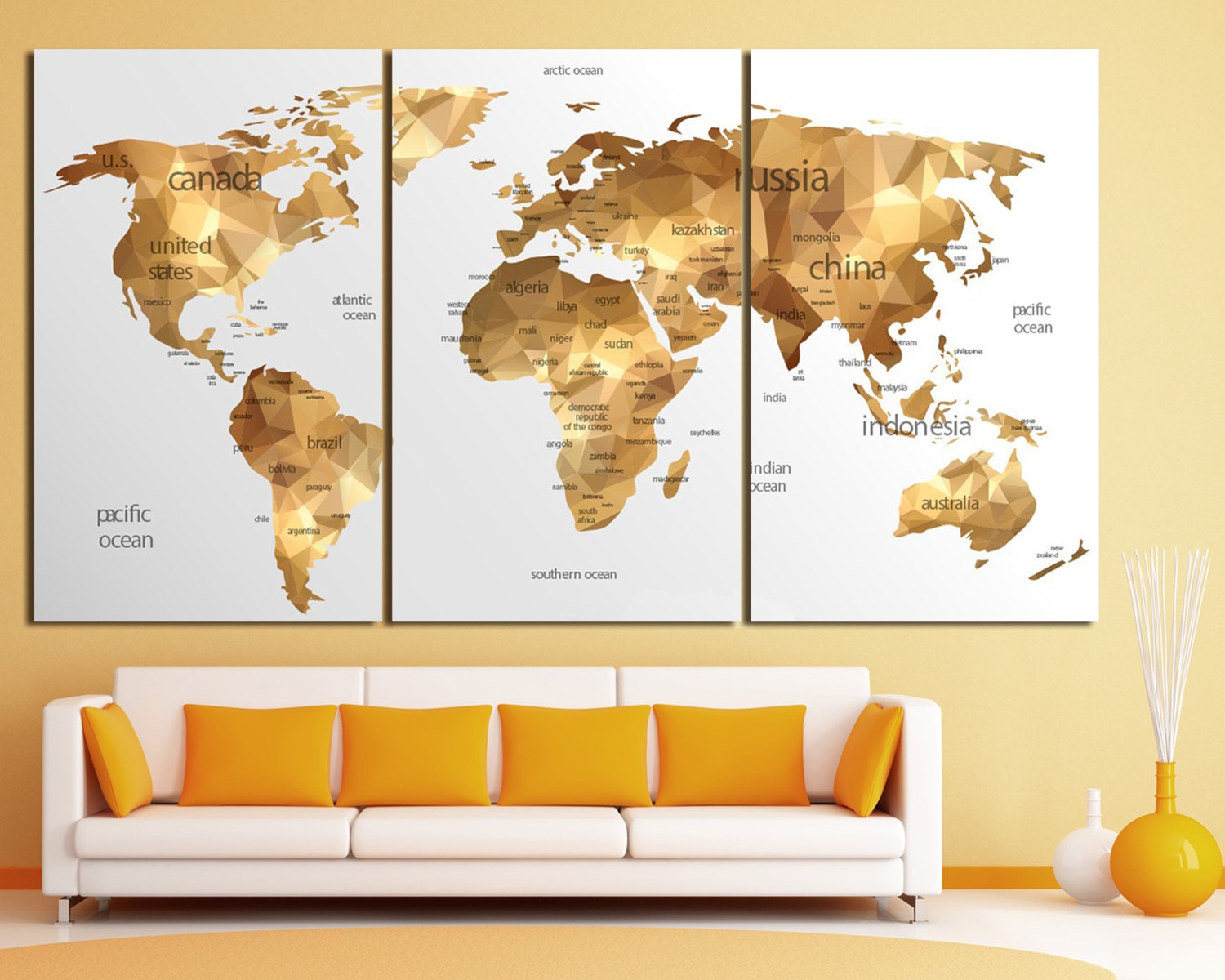 Gold world map wall art Large gold world map print Gold wall
