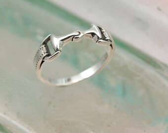Sterling Silver Snaffle Bit Shaped Ring / Pinky Ring / Sterling silver Ring / Horse Jewelry