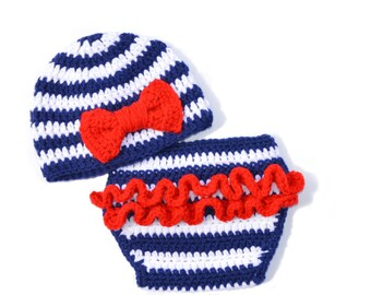 Girls Nautical Beanie and Diaper Cover Set, Crochet Photo Prop, Red White & Blue, Ruffle Diaper Cover, Ruffle Buns Cover, Newborn Outfit
