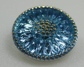 Czech Glass Button, Daisy Flower, 22 mm