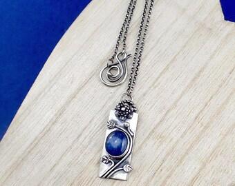 Stunning blue kyanite pendant - gemstone flower necklace - botanical jewelry - blue pendant -  nature inspired necklace - silver jewellery