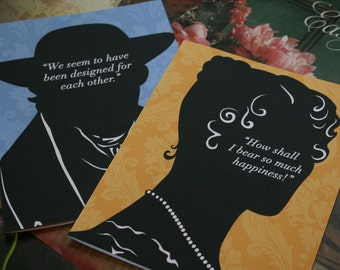 Jane Austen - Pride and Prejudice Quotes - Notecards - Literary Art - JAPP022