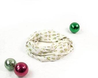 Christmas Scarf, Kids Infinity Scarf, Ivory Scarf, Holiday Infinity Scarf Childs Scarf, Gift for Kids Scarf Girl Scarf Kids Stocking Stuffer