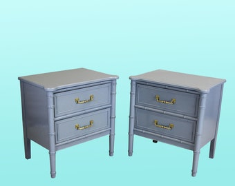 Vintage Palm Beach Style Nightstands - A Pair - Gray Nightstands - Vintage Nightstands - Mid Century Nightstands