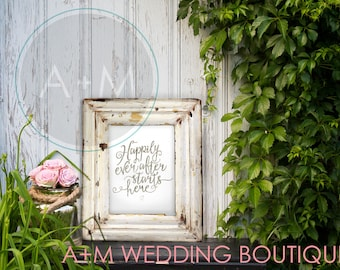 Wedding Sign Instant Printable / Happily Ever After Starts Here!  BROWN Ink on White Wedding Sign Signage INSTANT DOWNLOAD
