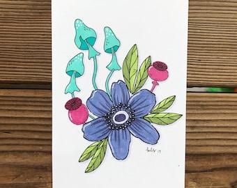 Floral Compilation Original Copic Marker Illustration
