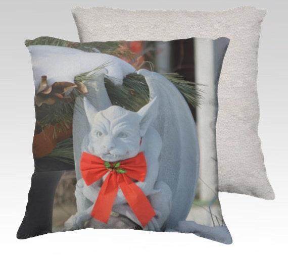 Canadian Inspired Home Decor Canada Pillow Via Etsy: Dashing Gargoyle On Christmas Pillow Cover Velveteen