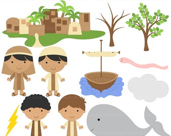 christian clipart bible characters jonah whale clip art - Jonah and the Whale Clip Art - BUY 2 GET 2 FREE