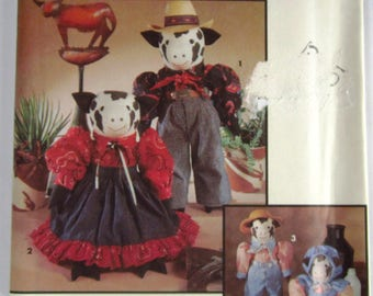 Decorative Cow Dolls and Clothing Vintage 1990s Simplicity Crafts Pattern 8269 UNCUT
