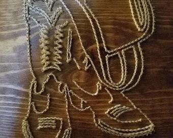 Boots & cowboy hat string art
