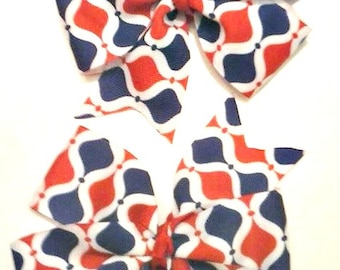Red White and Blue pinwheel pigtail set , Patriotic pigtail set , 4th of July pigtail set , Children's Hair Bow , Pageant Hair Bow , Bow Set
