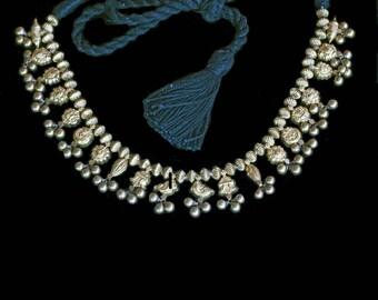 Antique Vintage Marriage Necklace 22k Gold Repousse Indian Wedding Bride (#6469)