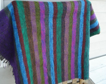 FINAL SALE Vintage Striped Native Tribal Inspired Wool Shawl Throw Purple Turquoise Warm